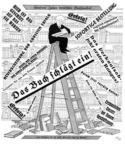 Titelzeichnung von Karl Arnold für die Münchner Satirezeitschrift ›Simplicissimus‹ vom 11.5.1925 zum 100. Jubiläum des Börsenvereins.