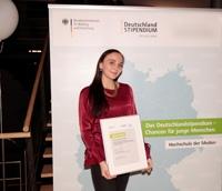 Saskia Kübler bekam das Deutschlandstipendium des DFTA Fördervereins (Foto: HdM)