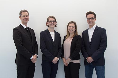 Das Studienteam: (v.l.) Prof. Dr. Dirk Heuzeroth, Katharina Rapp, Daniela Sommer, Ronny Rampp