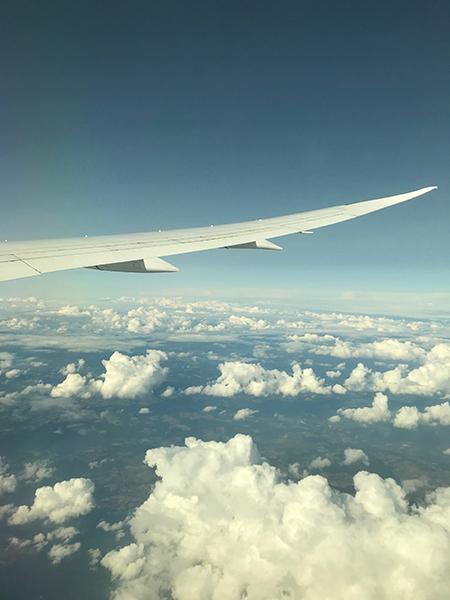 Über den Wolken auf dem Weg nach Toronto.