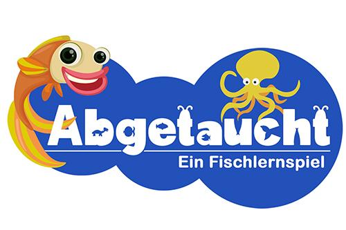 """Das Logo des Spiels """"Abgetaucht - ein Fischlernspiel"""""""