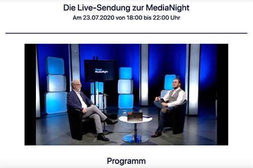 Ausschnitt aus dem Livestream der virtuellen MediaNight