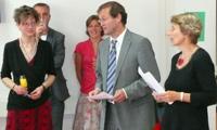 Prof. Ingeborg Simon, Rektor Prof. Alexander Roos und Katrin Sauermann (vorne, v. li.) beim Get Together