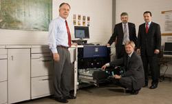 Prof. Dr. Erich Steiner und Prof. Dr.-Ing. Gunter Hübner, HdM, Heinz Gawlik und Andreas Elsinger, Xerox (von links nach rechts)