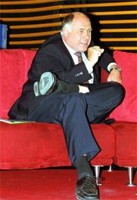 Rezzo Schlauch zu Gast an der HdM - hier im Jahre 2002 bei der media.lounge. Foto: HdM Stuttgart