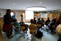 Studierende berichteten den Schülern aus ihrem Studienalltag (Foto; HdM)