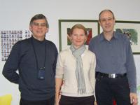 Professor Dr. Sergej Dubinin, Anne Rickert und Professor Dr. Frank Thissen im E-Learning Competence Center der HdM