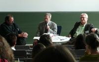 Qualität von Hörmedien in der Diskussion: v.l. Hanns-Georg Helwerth (Landesmedienzentrum Baden-Württemberg), Dr. Wolfgang Schill (Jury Auditorix), Volker Bernius (Stiftung Zuhören)