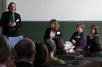Verlage zur Qualität von Hörmedien: v.l. Professor Dr. Richard Stang (HdM/IfaK), Franziska Paesch (Jumbo Neue Medien & Verlag), Theresia Singer (Headroom), Ute Kleeberg (Edition See-Igel)