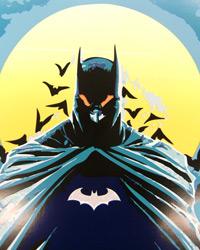 Batman mit der versteckten Botschaft auf der Brust