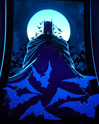 Das Batman-Poster unter Schwarzlicht