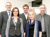 Die Gesichter des Gründerzentrums: Prof. Dr. Heinrich Witting, Magdalena Weinle, Dr. Hartmut Rösch, Susanne Menzel und Veit Rambacher (von links)