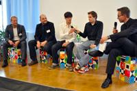 In allen Panels disktutierten Digital Natives mit, hier Daniel Lantelme und Falk Ebert (Mitte)