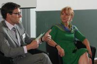 Moderator Lars Rinsdorf (links) mit Gesprächspartnerin Ingrid Felgenträger