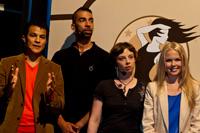 Moderator Stephan Lenhardt, Rapper Harris, Fotodesignerin Mareike Arnold und Moderatorin Carolin Henseler