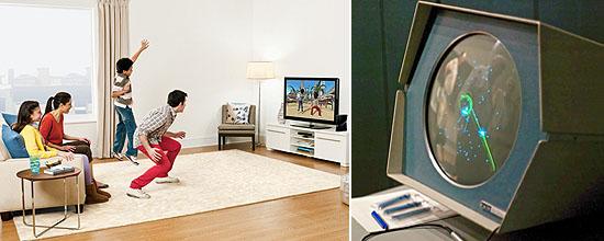 """Moderner Spielspaß: Mit Bewegungssteuerung wird das Wohnzimmer zum Spielplatz (Foto li.: Microsoft); das erste Computerspiel """"Spacewar!"""" (Foto re.: Joi Ito)"""