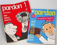 """Zum 50. Jubiläum erschien eine neue Ausgabe der Satire-Zeitschrift """"Pardon"""", Foto: Cover der ersten Ausgabe von 1962 (links) und der neuen Ausgabe von 2012 (rechts)"""
