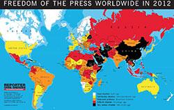"""Die Weltkarte zur Lage der Pressefreheit weltweit der Reporter ohne Grenzen. Weiß bedeutet """"gute Lage"""", schwarz """"sehr ernste Lage""""."""