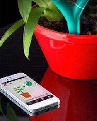 Per Bluetooth werden die Messdaten von Flower Power an Smartphone oder Tablet verschickt. (Bildquelle: © http://www.parrot.com/flower-power/)