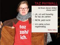 """Die """"taz"""" setzt auf ein freiwilliges Bezahlsystem, Foto: Screenshort von www.taz.de"""