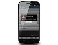 Im Notfall wird auf dem Smartphone eine Bremswarnung angezeigt, Foto: Heiko Stumpf.