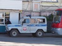 Russische Polizeiautos sehen abenteuerlich aus.