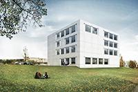 Das neue Gebäude für die HdM hat die Form eines Würfels (Foto: Simon Freie Architekten)