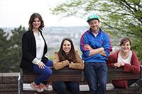 Von links: Helene Reiner, Aurelia Natalini, Sebastian Zeeden und Marion Härtel sind das Achsensprung-Team (Quelle: Achsensprung)