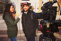 Interviews gehören zum crossmedialen Beitrag (Foto: Lisa Grosch)