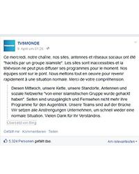TV5Monde gibt den Hackerangriff über Facebook bekannt. Foto: Screenshot von facebook-Seite TV5Monde.