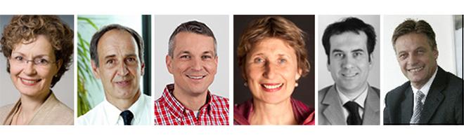 Prof. Cornelia Vonhof, Prof. Dr. Wolfgang Fuchs und Andreas Bieswanger folgen auf Prof. Ingeborg Simon, Prof. Eckhard Wendling und Dr. Friedrich Wehrle (von links)