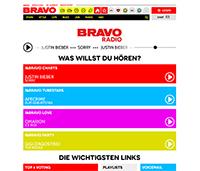 """Die Startseite von """"BRAVO-Radio"""" auf bravo.de. Screenshot Bravo.de"""