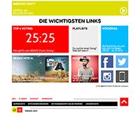 Die wichtigsten Links: Jede Stunde können die Hörer u.a. die Top-5 der BRAVO-Charts neu wählen. Screenshot Bravo.de