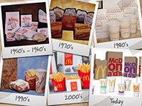 Eine Auswahl an Verpackungen der Fast-Food-Kette in den letzten Jahrzehnten. Quelle: McDonald's