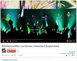 Hatsune Miku wird bei einem Live Konzert bejubelt (YouTube-Screenshot)