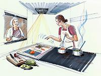 Eine künstlerische Darstellung der vollvernetzten SmartKitchen. Quelle: E.G.O.