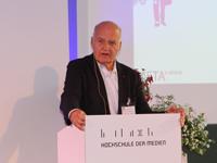 dm-Markt-Gründer Götz W. Werner bei der Eröffnungsrede des META, Foto: Marleen Kledig