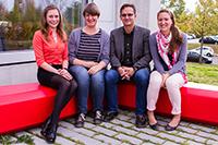 Ein Teil des Teams: Julia Schäfer, Sabine Palm, Prof. Dr. Arnd Engeln und Dr. Dominique Stimm (von links, Fotos: Daniel Jordan)