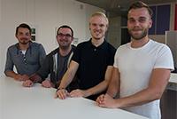 Die glücklichen Stipendiaten: Patrick Strepp, Simon Kienzler, Nils Kaper und Tom Alender (von links, Foto: Elisabeth Messerschmidt)