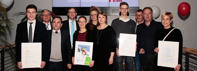 Die Preisträger mit ihren Laudatoren, Foto: Niels Keller