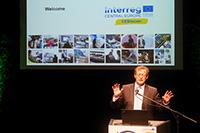 HdM-Rektor Prof. Dr. Alexander W. Roos begrüßte die Teilnehmer des Start-up-Wettbewerbs. Foto: Petra Rösch