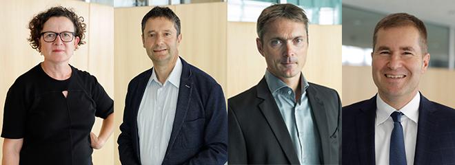 Neu im Amt: Prof. Bettina Tabel, Prof. Roland Kiefer, Prof. Dr. Okke Schlüter und Prof. Dr. Nicolai Schädel (von links)
