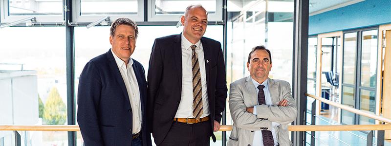 Die Prorektoren der HdM: Prof. Dr. Mathias Hinkelmann, Prof. Dr. Nils Högsdal und Prof. Dr. Franco Rota (von links)