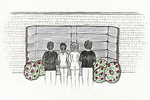 Der Nachbau der schwarzen Wand im Hof des Lagergefängnisses (Illustration: Evelyn Krix)