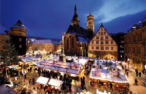 Der Teil des Stuttgarter Weihnachtsmarkts auf dem Schillerplatz, Foto: (c) in.Stuttgart / Wilhelm Mierendorf