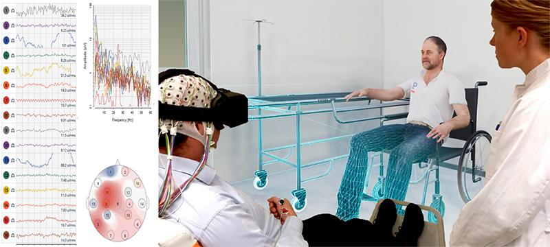 Ein Patient erlebt in virtueller Realität Bewegung der durch Schlaganfall betroffenen Extremität (Foto: Neurologische Universitätsklinik Tübingen und VTplus GmbH)