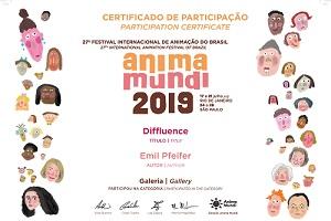 """Das Zertifikat zur Teilnahme für das Team von """"Diffluence"""". Foto: Anima Mundi"""