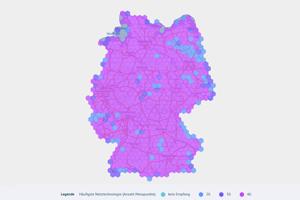 Die gesammelten Daten wurden für Funklochkarte grafisch aufbereitet. Screenshot via https://breitbandmessung.de/kartenansicht-funkloch