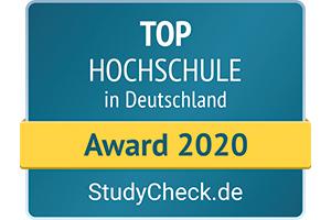 Im StudyCHECK-Ranking 2020 landet die HdM auf Platz 8 der beliebtesten Hochschulen Deutschlands. (Grafik: StudyCHECK)
