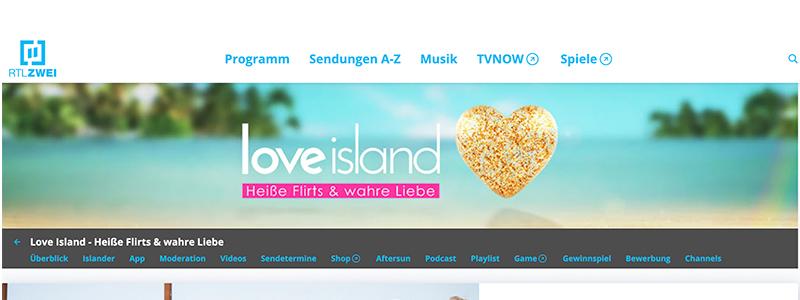 Reality-Formate wie etwa Love Island gehören für viele in Sachen TV bereits zum Pflichtprogramm, Foto: Screenshot Website www.rtl2.de